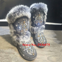 Warm Winter Snow Boots Handmade Luxury Crystal Flower Totem Bohemia Boots Furry Fur Jeweled Fringe Pearl Botas Mujer Shoes Woman