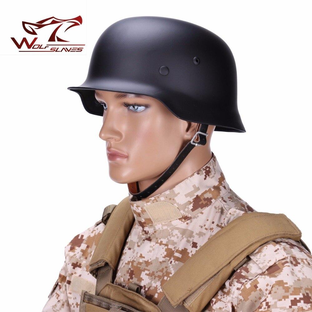 WWII German Elite Army M35 Stiff Steel Helmet Stahlhelm Retro Durable CS Luftwaffe Helmet w Shell Lining Swivel Bale Chin Strap