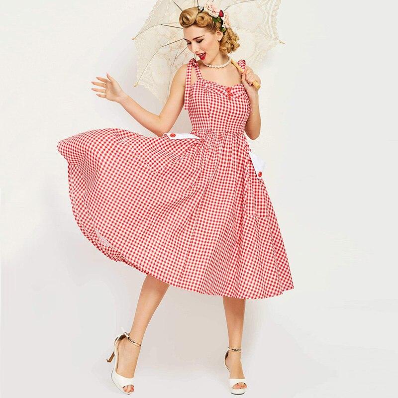 Sisjuly Vintage Women S Dress Summer Backless Sleeveless Red Plaid Strapless Knee Length Female Vintage Dress