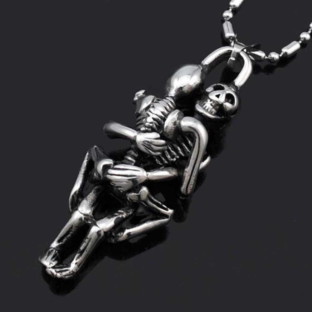 Ze stali nierdzewnej podwójne czaszka wisiorek łańcuch krzyż naszyjnik dla mężczyzn bez krawędzi tybet srebrny czarny biżuteria New Arrival