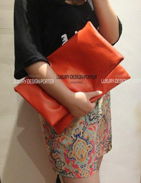 New Large Fold Over Clutch soft Leatherette Women Handbag Envelop IT BAG Bolsa