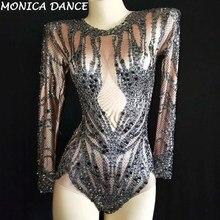 Seksi Sparkly Siyah Kristaller Çıplak Bodysuit Performans Kıyafet Parti Kutlamak Glisten Rhinestones Streç Leotard Sahne Bodysuit