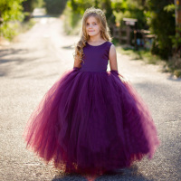 POSH DREMA 2019 New Spring Children Formal Dress Princess Vestido Primera Comunion Purple Flower Girls Wedding Party Dresses