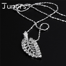 JUNORS Hot Fashion Silver Plated Chain Necklace Leaf Beads Pendant Necklace Shiny Jewelry Birthday Present