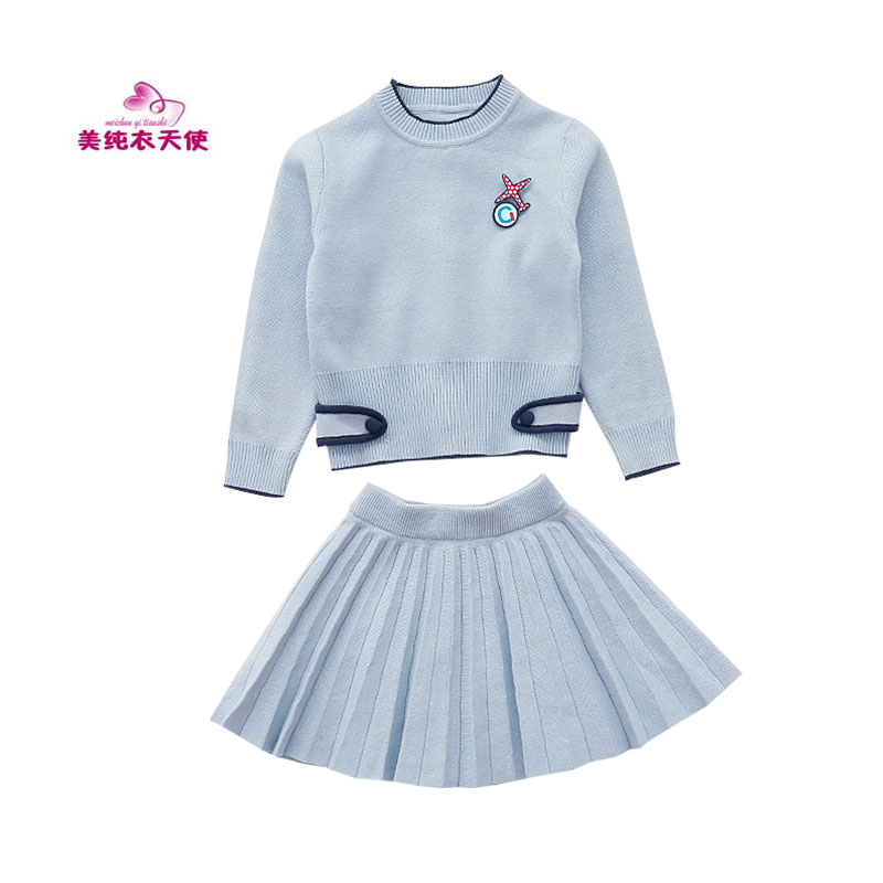 Spring Autumn Girls Clothing Knitted Sweater Suits Long Sleeve Sweater+Skirt 2Pcs Girls Sets for 4 6 8 10 12 Years Kids Clothes fashion slim girls clothing sets long sleeve plaid sweater two piece skirt suits cotton kids wear vetement fille split hem