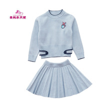 Spring Autumn Girls Clothing Knitted Sweater Suits Long Sleeve Sweater+Skirt 2Pcs Girls Sets for 4 6 8 10 12 Years Kids Clothes kids girls knit skirt sets spring 2018 teenage girls long sleeve sweater top