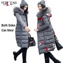 HIJKLNL parkas mujer invierno 2017 Plus Size Winter Women Long Hooded Fur Collar Jacket Coat Both Sides Can Wear Padded NA285