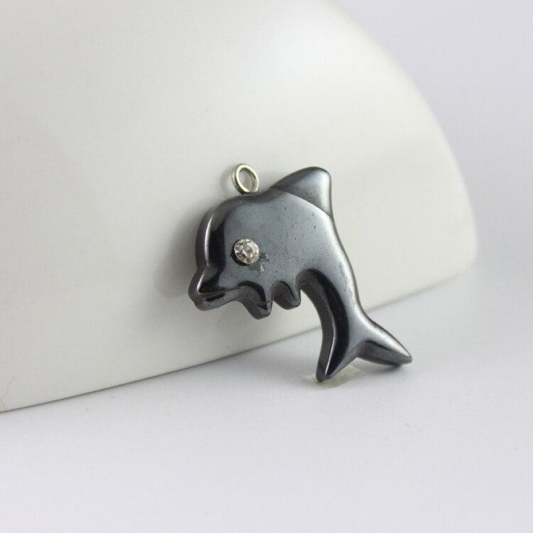 ∞Venta caliente moda hematita colgante delfín DIY accesorios envío ...