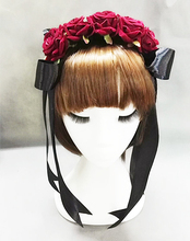 Lolita Red Rose Flower Headband Vintage Ribbon Goth Roses Pearl Hair Accessories Handmade