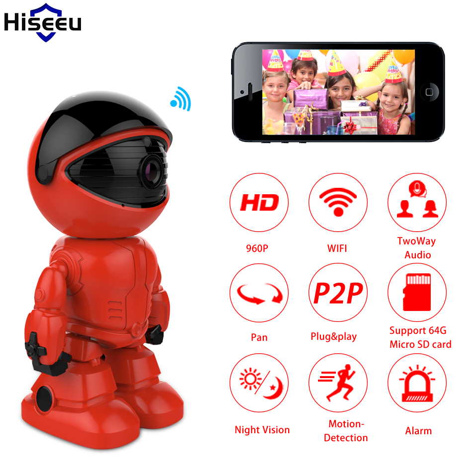 где купить Hiseeu Robot camera 960P 1.3MP Wireless IP Camera wi-fi Wifi Night Vision Camera IP Network Camera CCTV support two-way audio по лучшей цене