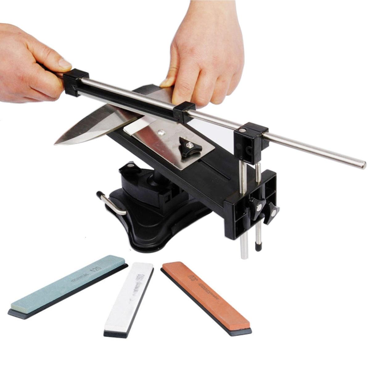 Todo o Ferro Aço Sharpener de faca Profissional Cozinha Ferramentas Do Sistema Fix-ângulo Com 4 Pedras de Afiar Pedra De Amolar Facas de Cozinha