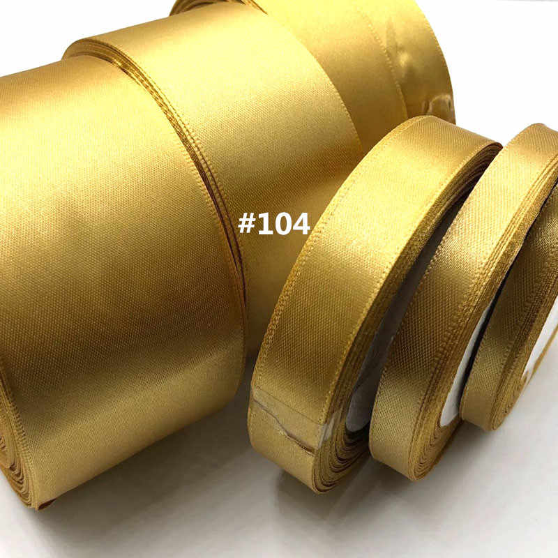 Gold 25yards 6mm - 50mm Satin Ribbon Sash Gift Bow Handmade DIY Craft Wedding Party Supply Banquet Decoration 104