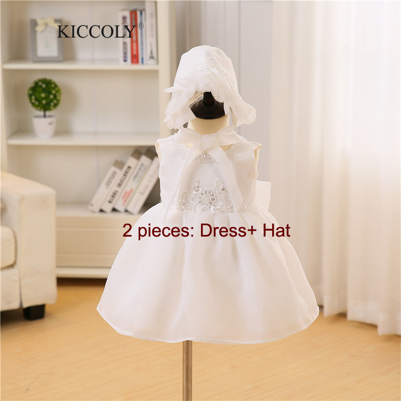 2017 New Newborn Baby Girl Dress with Hat Bow Beaded Tulle Christening Gowns 3M-24M White Birthday Dresses vestido infantil 2Pcs