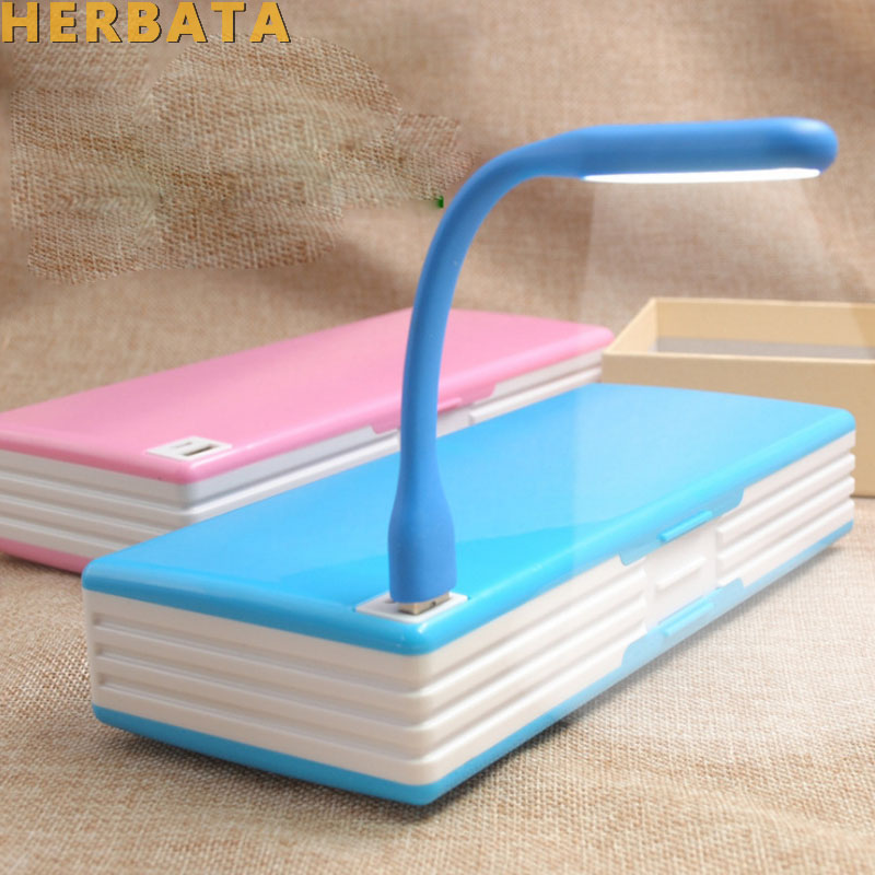 Multifunctional Pencil Case With LED Lamp & USB Mini Fan Creative Student Stationery Box Korean Style Pencil Box For Boy & Girl