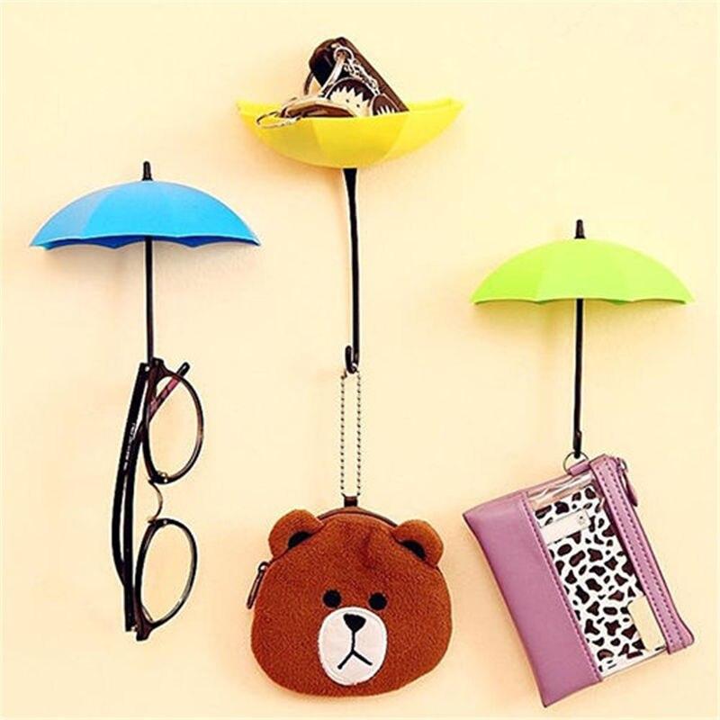 3Pc/lot Creative Umbrella Wall Hook Keys Mini Hook Hanger Glass ...