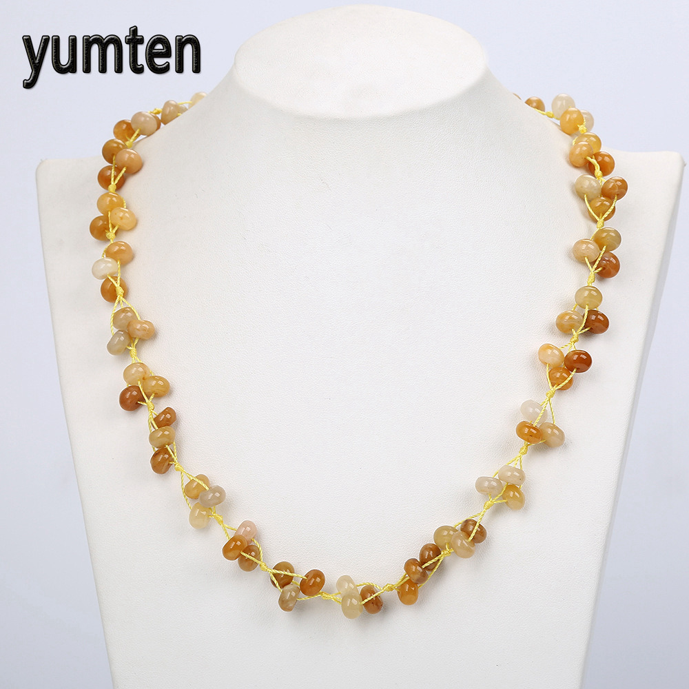 Topaz Braided Beads Chain Women Beautiful Statement Necklace Ladies Exquisite Crystal Stones Female Valentine D Gifts