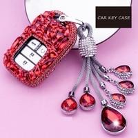 Luxury Diamond Key Chain Ring key shell car key pack cover/auto key case for Honda Civic CR V Accord XR V Spirior 2/3/4 Button
