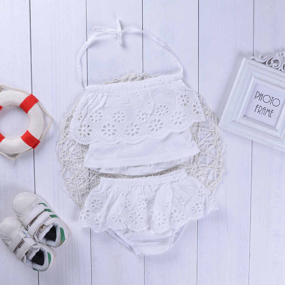bdf0e7186ff Infant Baby Girls Clothing Suits Lace Suspender Back-off Solid White Tops+Lace  Ruched