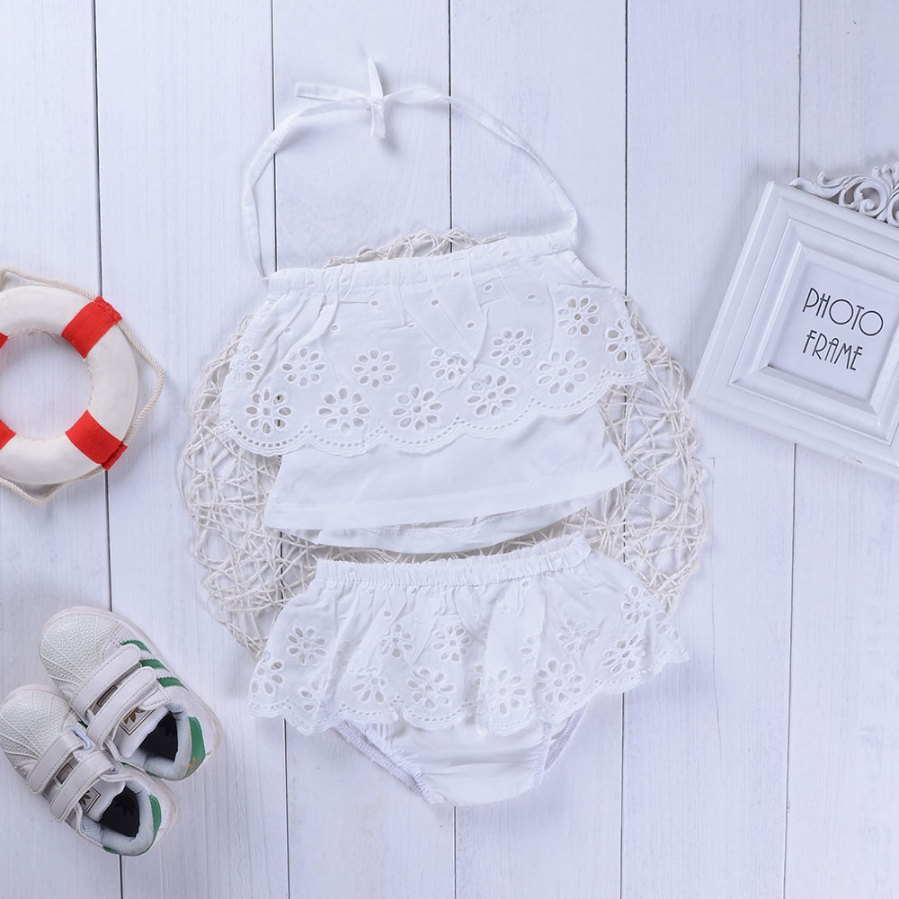 Infant Baby Girls Clothing Suits Lace Suspender Back-off Solid White Tops+Lace Ruched Shorts Vogue Bebe Girls Clothes Sets