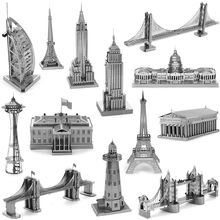 3D Metal Puzzles for children Adults Model Toys Jigsaw Metal Big Ben Tokyo Tower Sky Wheel US congress puzzles educational toys