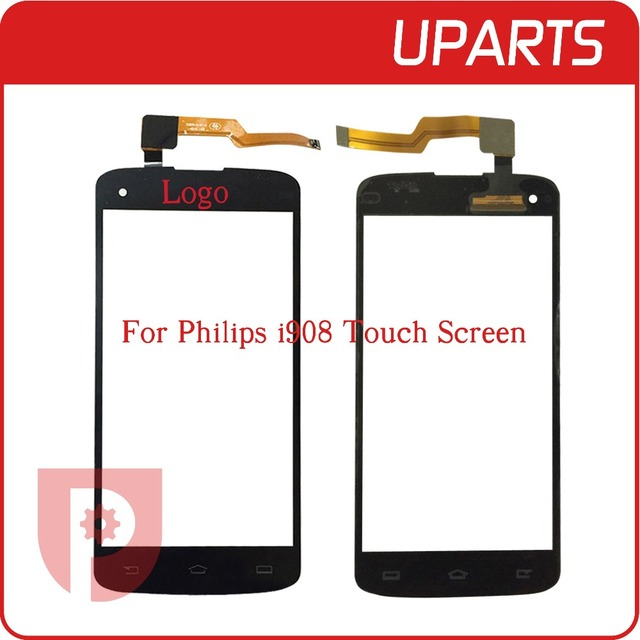 "50pcs/lot DHL EMS  A+++ High Quality 5.0"" For Philips I908 Touch Screen Digitizer Sensor Front Glass Lens Black + Free shipping"
