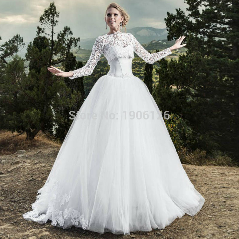 Perfect Princess White Ball Gown Two Piece Wedding Dress Lace Bridal Dresses Gowns  With Jacket Lace Up Vestido De Noiva 2 Em 1 2016 In Wedding Dresses From  Weddings ... Photo Gallery