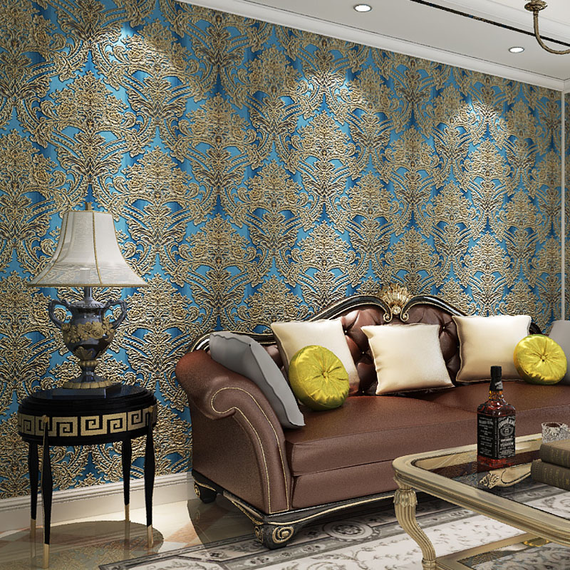 European Style 3D Wallpaper Flower for Living Room Big Floral Background Non Woven Wall Paper Roll for Walls Vintage Wallpapers european style pvc waterproof wallpaper living room bedroom background flower wall paper roll blue coffee