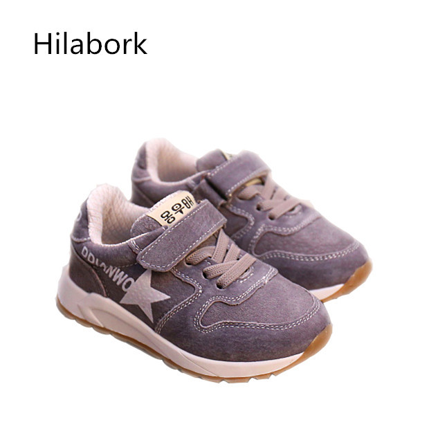 HOOk & LOOP2017 spring new children's toddler shoes breathable fashion leather boys and girls leather casual sports shoes A01616