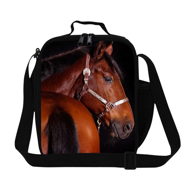 Desinger caballo bolsas de almuerzo para los hombres trabajan, muchachos frescos de almuerzo aislada bolsa de la escuela, animales térmica bolsa de almuerzo para niños con correa