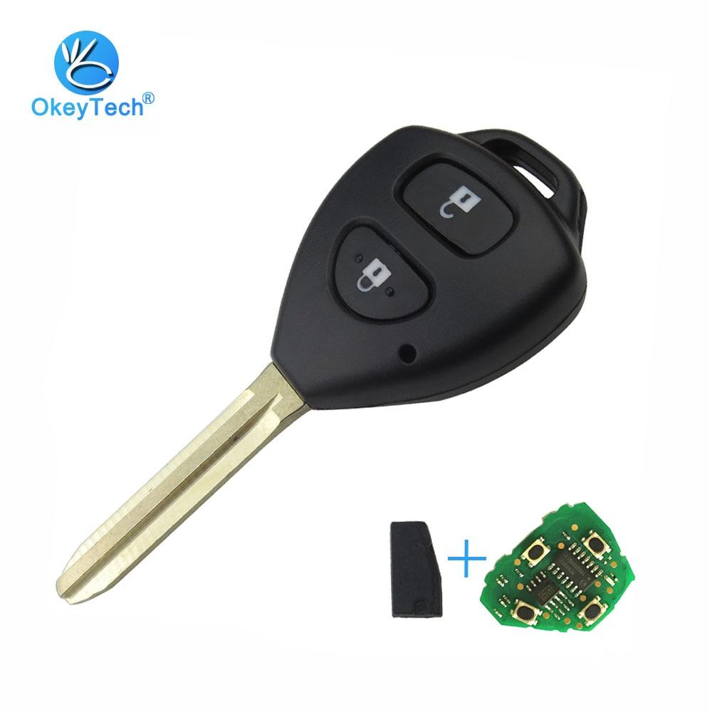 KEYYOU 2 Button Uncut Plastic Blank Keys for Toyota Corolla RAV4 Toy43 Blade