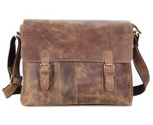 Maxdo Vintage High Quality Brown Crazy Horse Leather Men Messenger Bags Genuine Leather Cross Body Bag  #M6002L