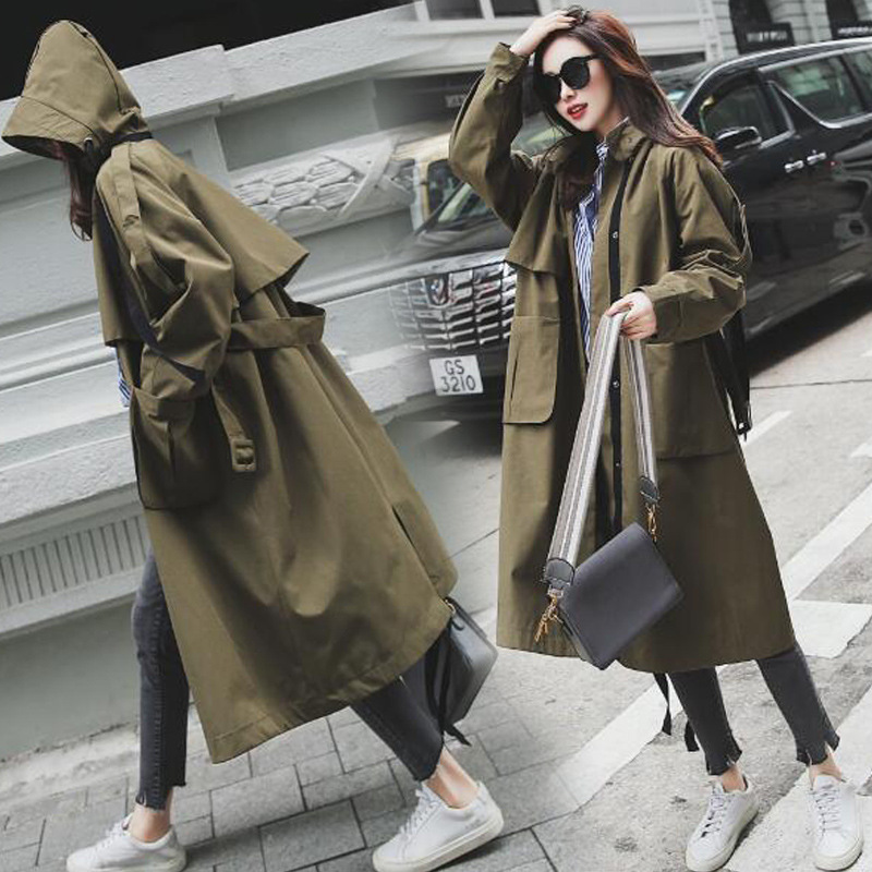 Brand new Fashion 2019 Fall /Autumn Women Casual Oversized Large pockets Loose   Trench   coat Chic Female windbreaker Spring N643