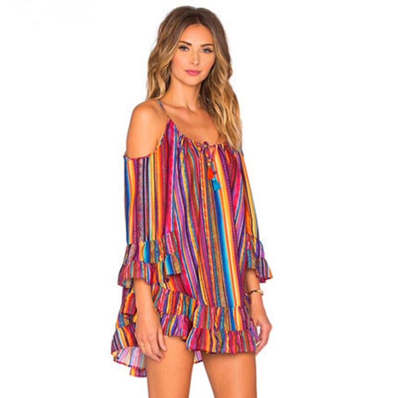 Summer Beach Harness Dress Rainbow Stripes Printed Ruffles Sundresses Casual Women Chiffon Mini Dress Boho Dress 40