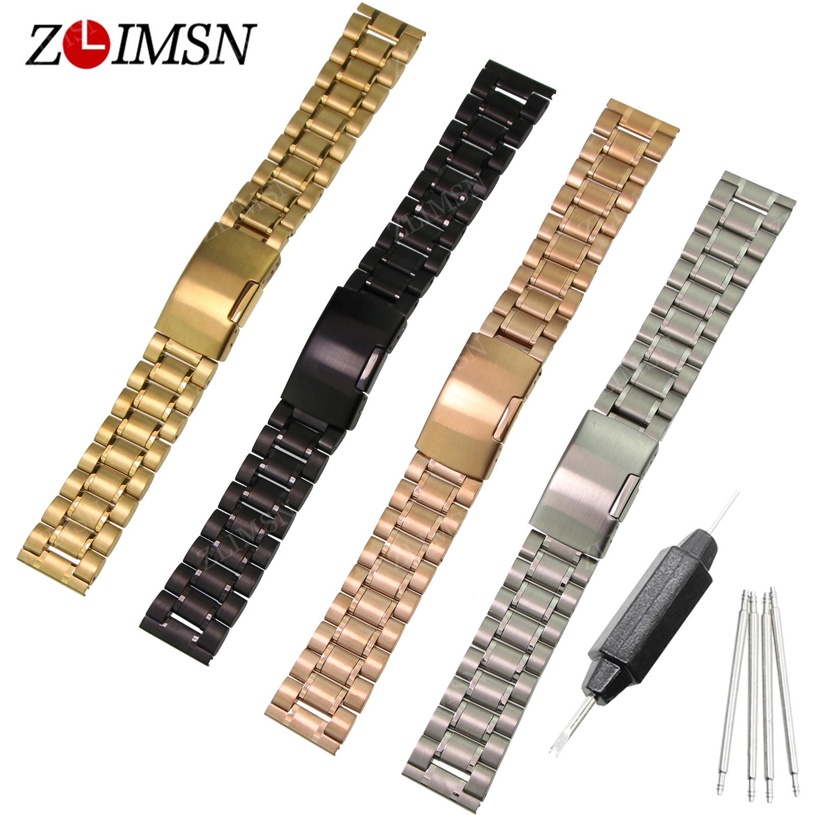 ZLIMSN Stainless Steel Watchband Deployment Clasp Silver Black Gold Watch Strap 18 20 22 24 26mm Brazalete De Acero Inoxidable pro table tennis pingpong combo racket galaxy yinhe t 6 blade with 2x dhs neo hurricane3 rubbers