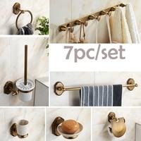 Luxury 7pc/set Bathroom Accessories Set Antique Brass Paper Holder /Towel Bar/ Soap Dish Holder /Bathroom Kitchen Hooks