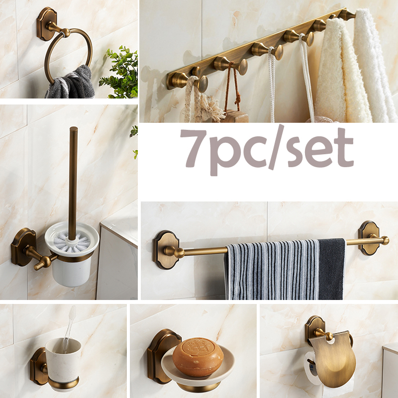 luxury 7pcset bathroom accessories set antique brass paper holder towel bar soap