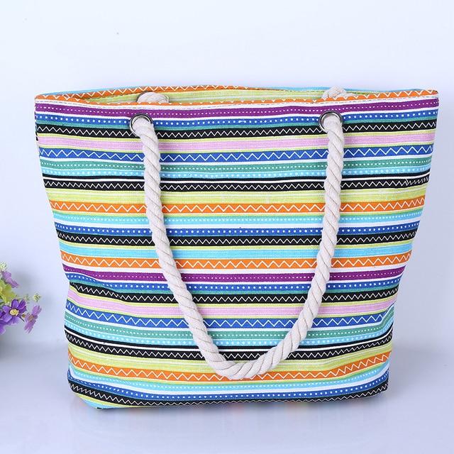 New Women Handbag Canvas Floral Printing Shoulder Beach Bags Casual Female Tote Shopping Bag Bolsa Feminina  2017