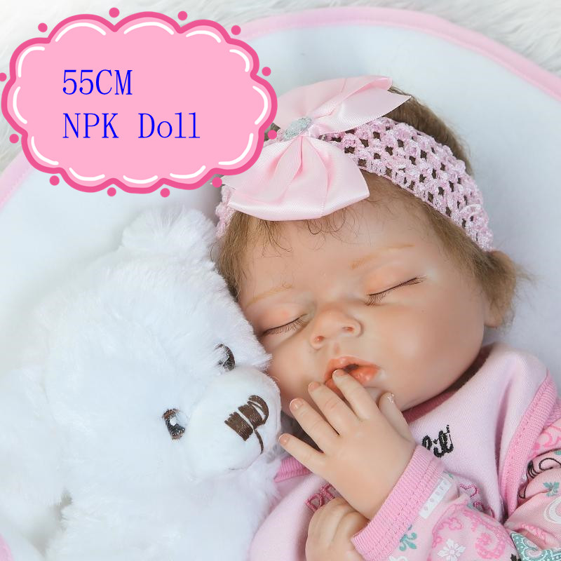 Hot NPK BRAND Reborn Baby Doll Made By pp Cotton And Silicone Realiable Quality Bonecas Bebe 22inch Best Birthday Gift
