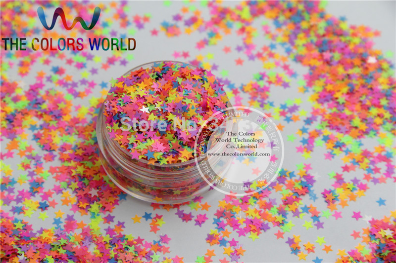 SN3-85 Mix 3MM Neon Color Solvent Resistant Glitter STAR shape Glitter for Nail Polish Acrylic,DIY supplies1pack=50g