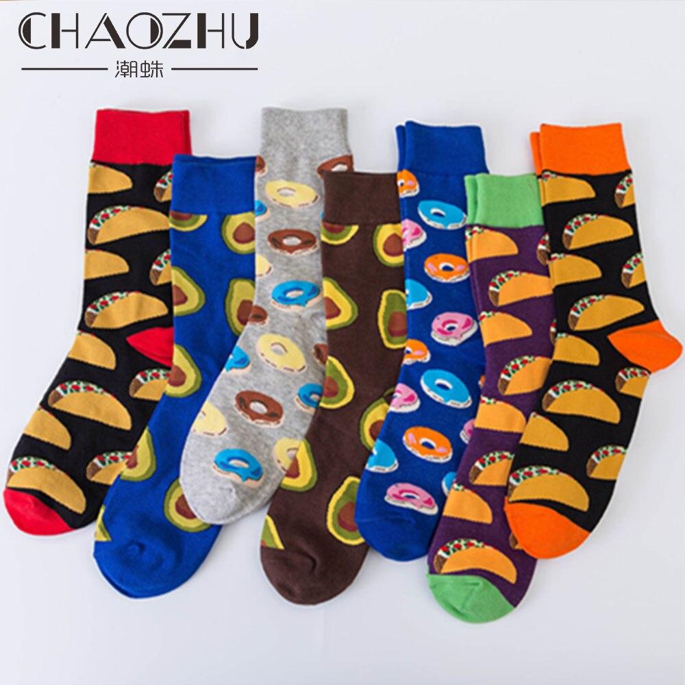 CHAOZHU New European Fashion Big Size 46 Men Socks Creative Jacquard Avocado Donut Mexican Burritos Cotton Crew Socks Fancies