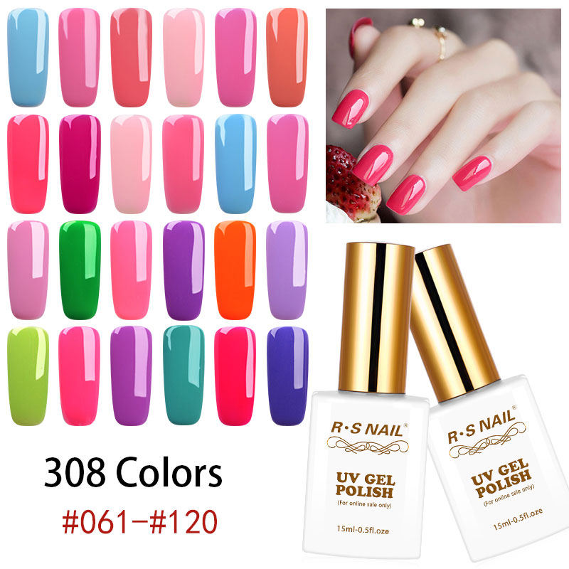 RS NAIL 15ML UV Gel 308 Colores Soak Off Gel Polish LED Lámpara UV - Arte de uñas