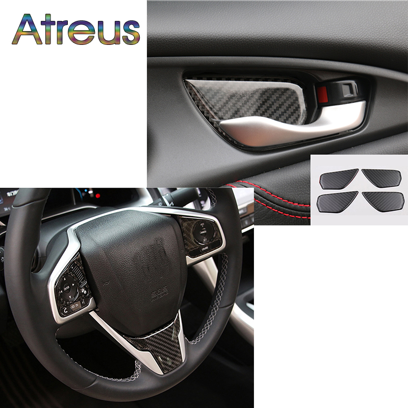 Atreus Interior Carbon Fiber Trim Car Sticker For New Honda Civic 2017 Accessories 10th Civic 2016 Panel Stickers epr car styling for mazda rx7 fc3s carbon fiber triangle glossy fibre interior side accessories racing trim