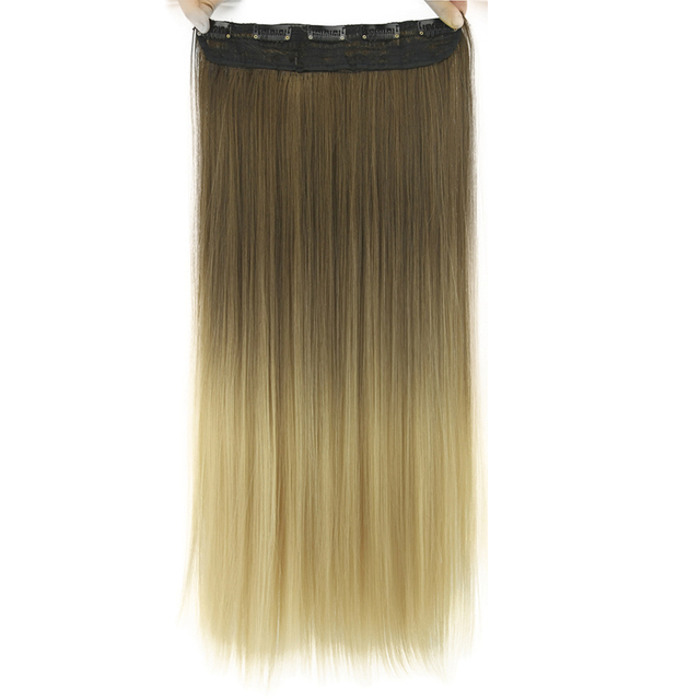 "24"" Straight Synthetic Clip-in Hair Extension Bundle"