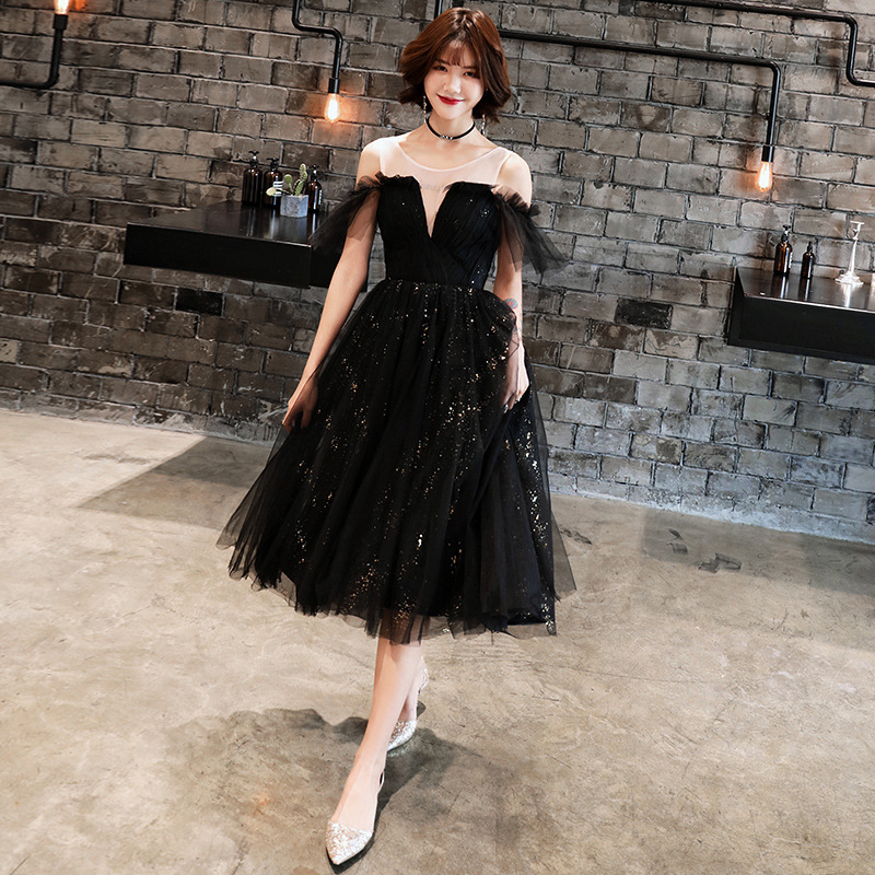 2019 New Fashion   Cocktail     Dresses   Elegant Sequined Party Formal   Dress   Royal Lace Up A-line Knee Length Black Prom Ball Gown E319