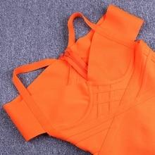 Deer Lady mujeres vendaje vestido 2019 nuevas llegadas elegante verano fuera del hombro vendaje vestido naranja Sexy Bodycon vestido Fiesta Club