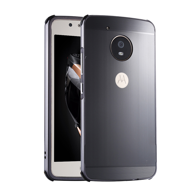 For MOTO G5 Case Brushed mirror Back Cover Case for MOTO G5 Plus G5 Plating Aluminum Metal Frame for Motorola G5 Plus Case in Fitted Cases from Cellphones Telecommunications