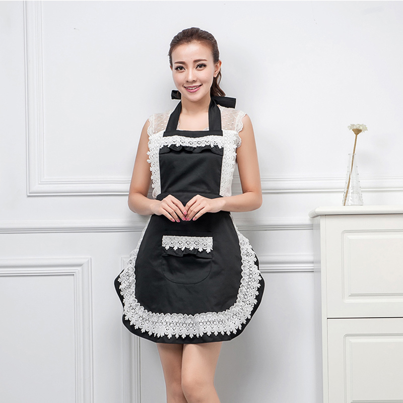 1-5 pcs Woman Ladies Adult Retro Lace Maid <font><b>Sexy</b></font> <font><b>Apron</b></font> Dress <font><b>Kitchen</b></font> Household Waist Bib Cleaning BBQ Work <font><b>Aprons</b></font> Pink Black Red image