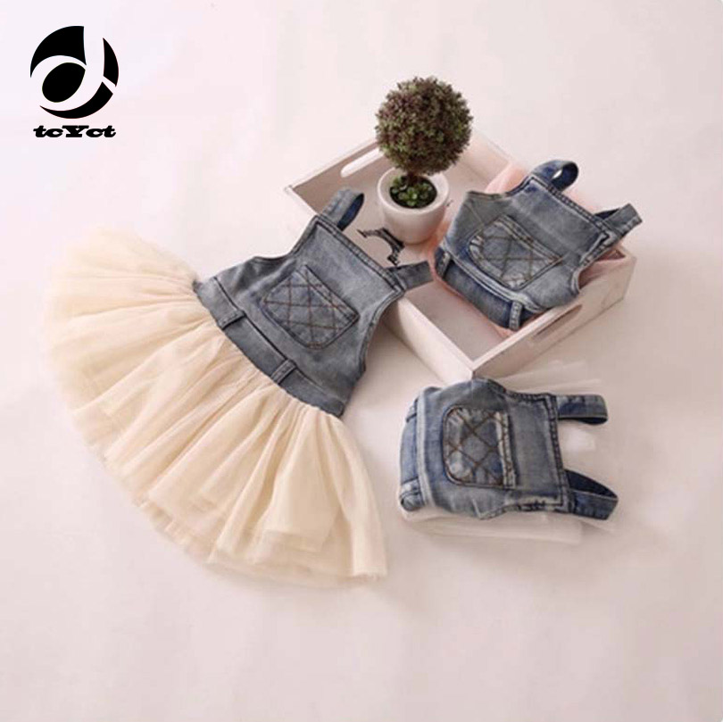 Children Summer Dress Lace Denim Patch Children Party Frock Baby Girls Sundress Kids Princess Party Tutu Dress For Girl 2-6Yrs 2017 new fashion brand summer kids clothes children clothing girls dress baby kids princess dress summer denim holiday sundress
