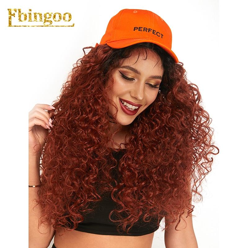 Ebingoo Kanekalon Long bouclé brun rougeâtre ombreu synthétique dentelle avant perruque femmes partie moyenne moelleux élégant perruque Futura Peruca