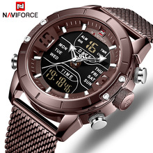 NAVIFORCE Watch Men Sports Quartz Watches Top Luxury Brand Stainless Steel Waterproof LED Digital Wristwatch  Relogio Masculino